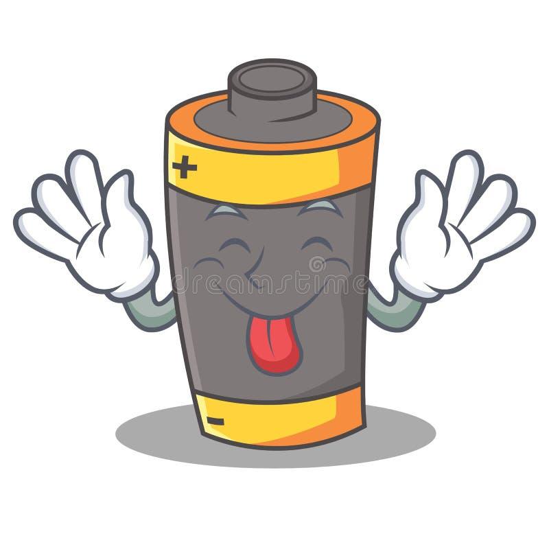 Tongue out battery mascot cartoon style stock illustration