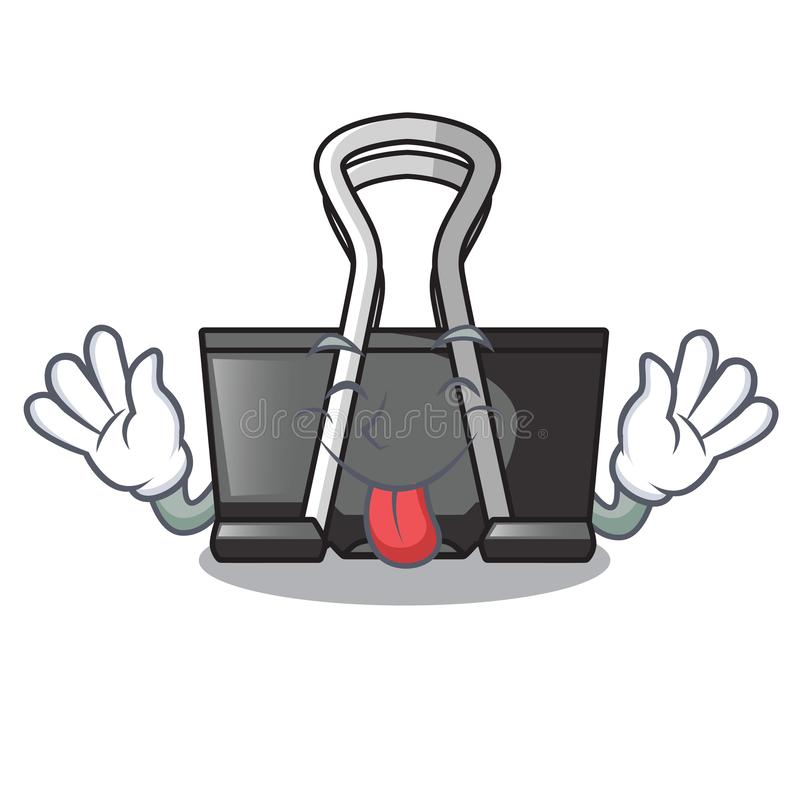 Tongue out binder clip for charcter on documents. Vector illustration royalty free illustration
