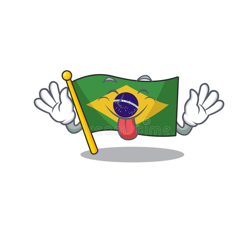 Tongue out brazil flag kept in mascot drawer. Illustration vector stock illustration