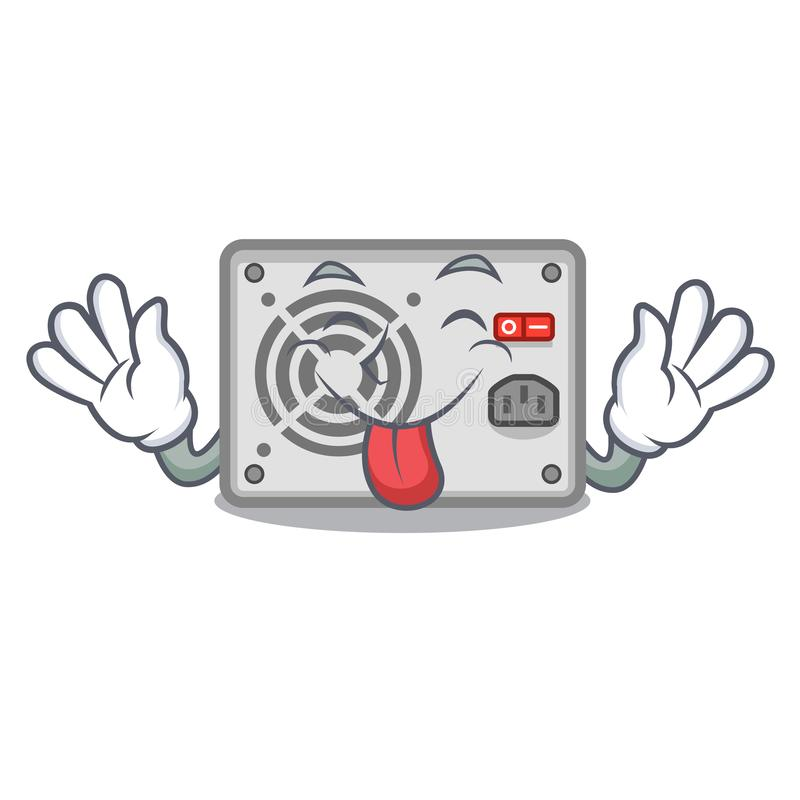 Tongue out cartoon power supply on the computer vector illustration
