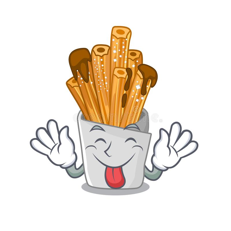 Tongue out churros in the wooden character jar. Vector illustration royalty free illustration