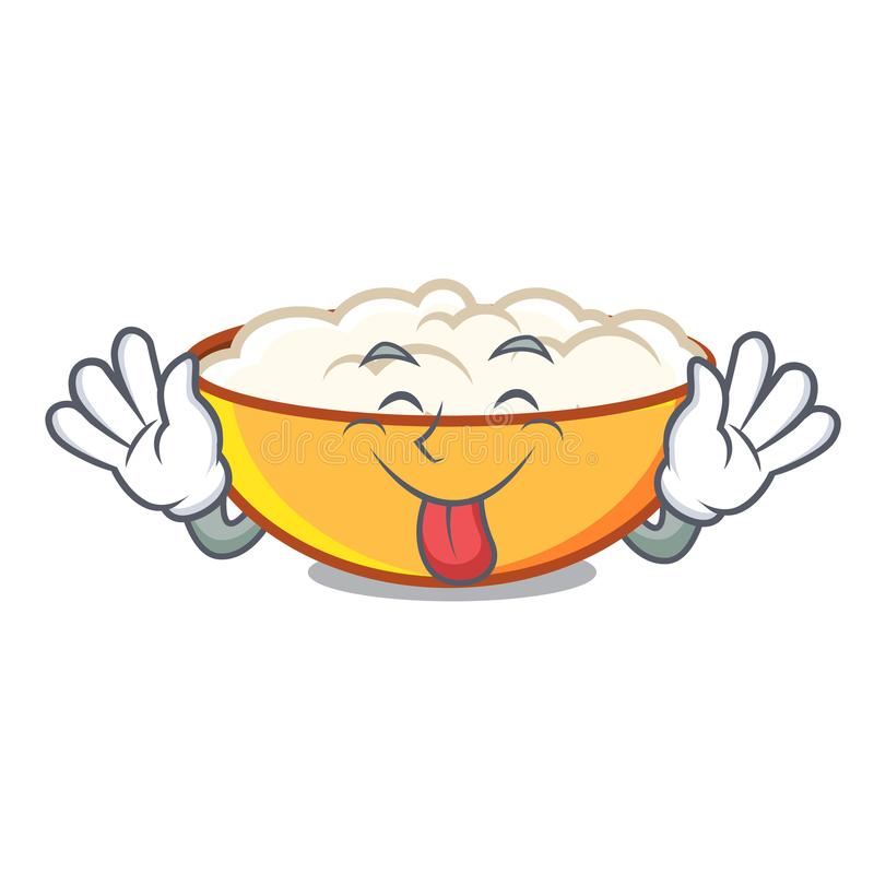 Tongue out cottage cheese mascot cartoon. Vector illustration vector illustration