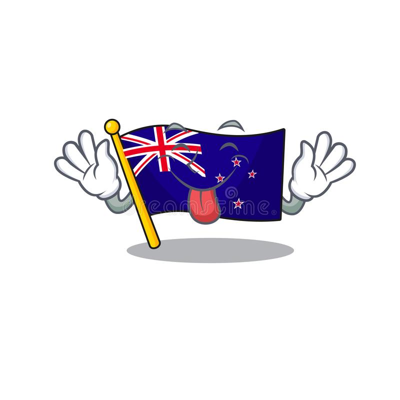 Tongue out flag new zealand in cartoon drawer. Vector illustration royalty free illustration