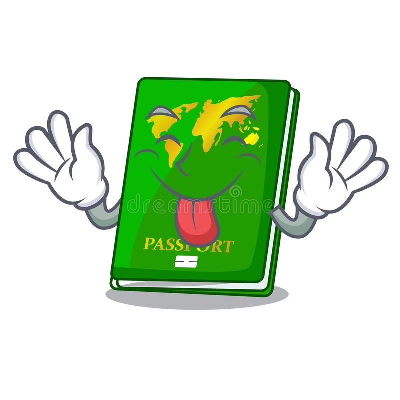 Tongue out green passport on the mascot table. Vector illustration royalty free illustration