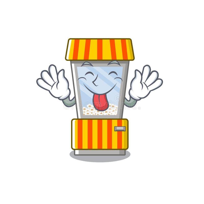 Tongue out popcorn vending machine in mascot shape. Vector illustration vector illustration