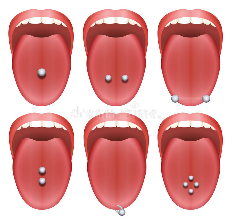 Tongue Piercing Examples. Nine different illustrations on white background vector illustration