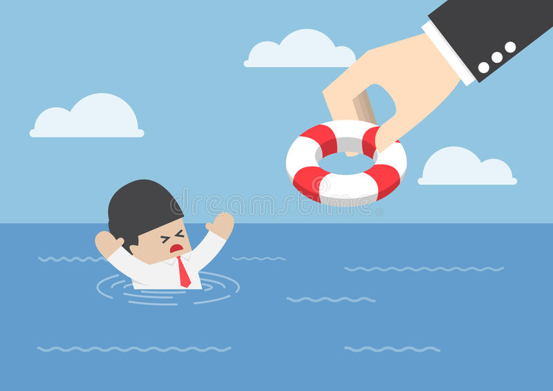 Tonięcie biznesmen dostaje lifebuoy od dużej ręki royalty ilustracja