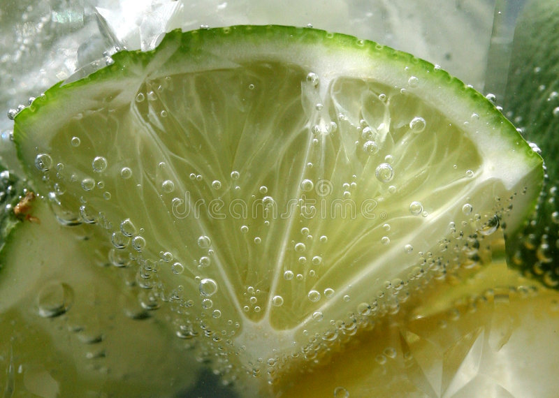 Tonic Bubbles On Lime Stock Images