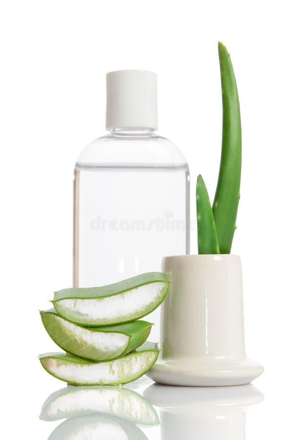 Tonic from organic aloe vera. On white stock images