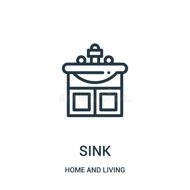 tonie ikona wektor od domu i żywej kolekcji Cienka kreskowa zlew konturu ikony wektoru ilustracja Liniowy symbol dla używa na sie royalty ilustracja