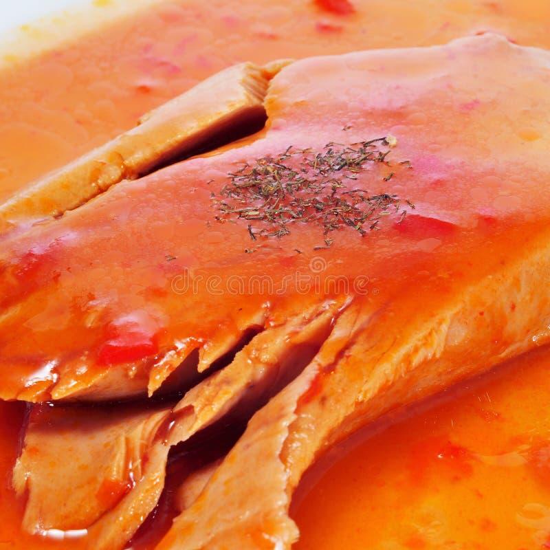 Tonijn met tomaat en pepersaus royalty-vrije stock afbeelding