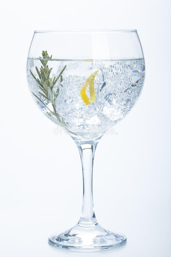 Tonique de genièvre de Rosemary et de citron au-dessus de blanc image stock