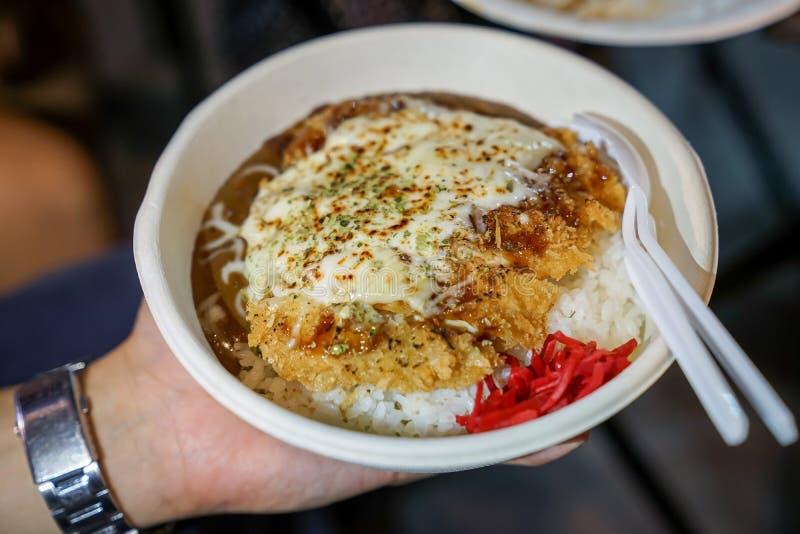 Tonkatsu; comida japonesa tradicional, cerdo frito curruscante con las salsas en el top y arroz debajo de él, en el plato de pape imagen de archivo