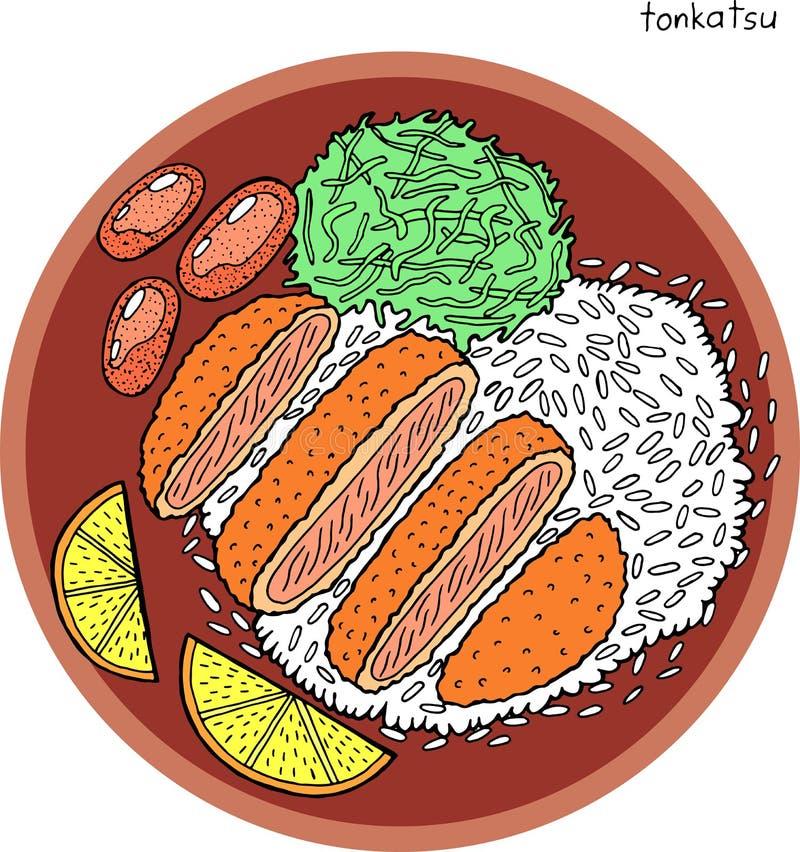 Tonkatsu - japanische Nahrungsmitteltintenillustration Grafische Farbgrafik Bunte realistische Kunst für Menüentwurf Auch im core lizenzfreie abbildung