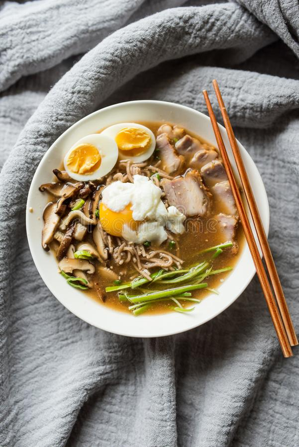 Tonkotsu ramen with shiitake mushrooms and pork stock image