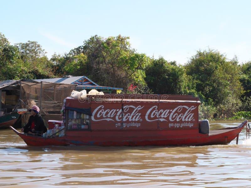 Tonle树汁河在柬埔寨 免版税库存图片