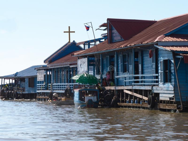 Tonle树汁河在柬埔寨 库存图片