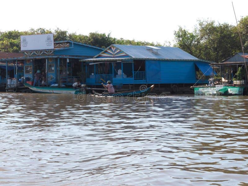 Tonle树汁河在柬埔寨 免版税图库摄影