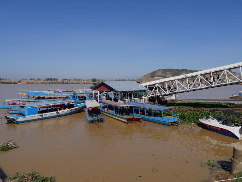 Tonle树汁河在柬埔寨 免版税库存照片