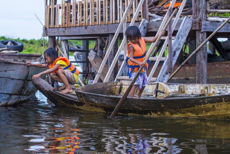 Tonle aproszy jezioro Kambodża zdjęcia royalty free