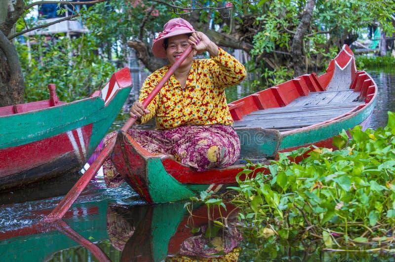 Tonle aproszy jezioro Kambodża obraz royalty free