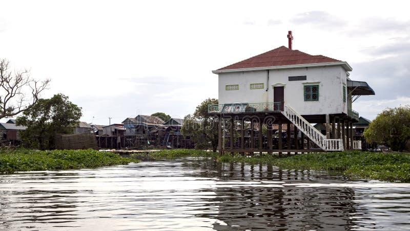 Tonle Sap湖,村庄 免版税库存照片