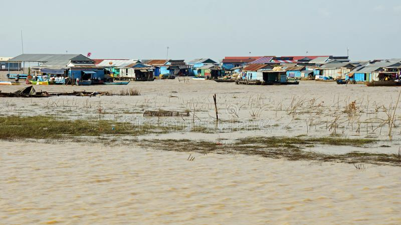 Tonle sap flaoting village. Traditional floating village on tonle sap lake in cambodia stock photos