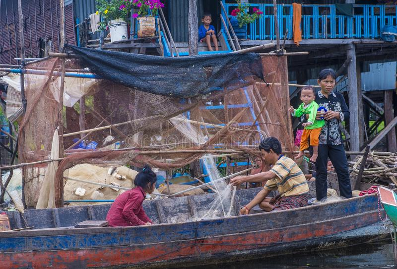 The Tonle sap lake Cambodia. TONLE SAP , CAMBODIA - OCT 18 : Cambodian people in Tonle sap lake Cambodia on October 18 2017. Tonle sap It is the largest lake in stock photos