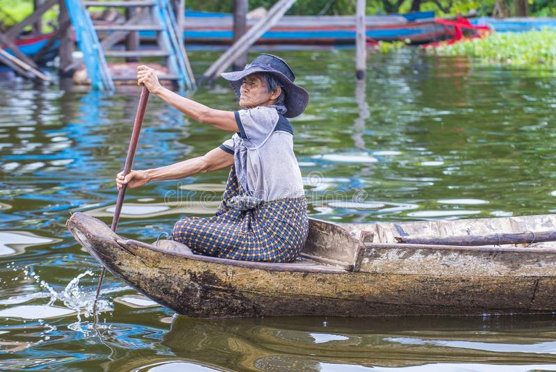 The Tonle sap lake Cambodia. TONLE SAP , CAMBODIA - OCT 18 : Cambodian woman in Tonle sap lake Cambodia on October 18 2017. Tonle sap It is the largest lake in stock photo