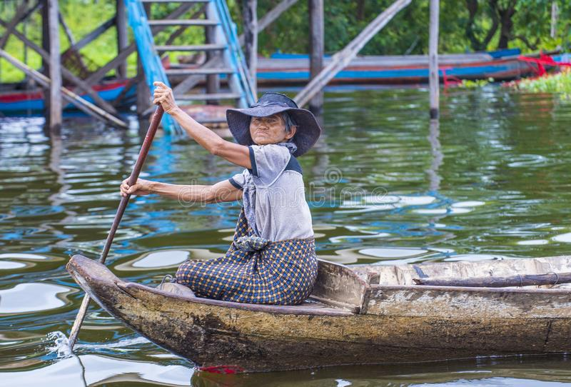 The Tonle sap lake Cambodia. TONLE SAP , CAMBODIA - OCT 18 : Cambodian woman in Tonle sap lake Cambodia on October 18 2017. Tonle sap It is the largest lake in stock images