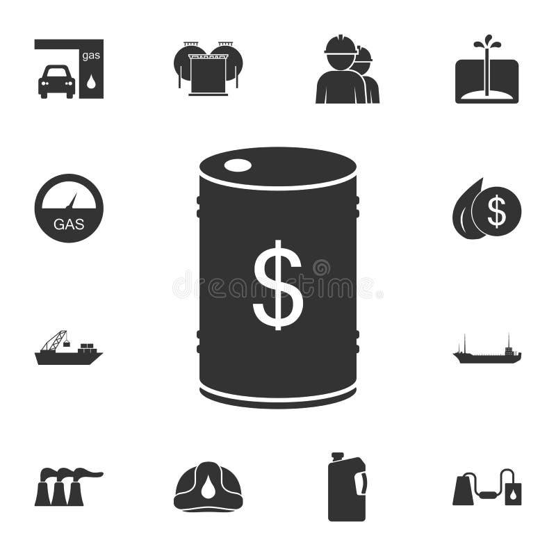 Tonneau à huile avec l'icône du dollar Illustration simple d'élément Tonneau à huile avec la conception de symbole du dollar de l illustration stock