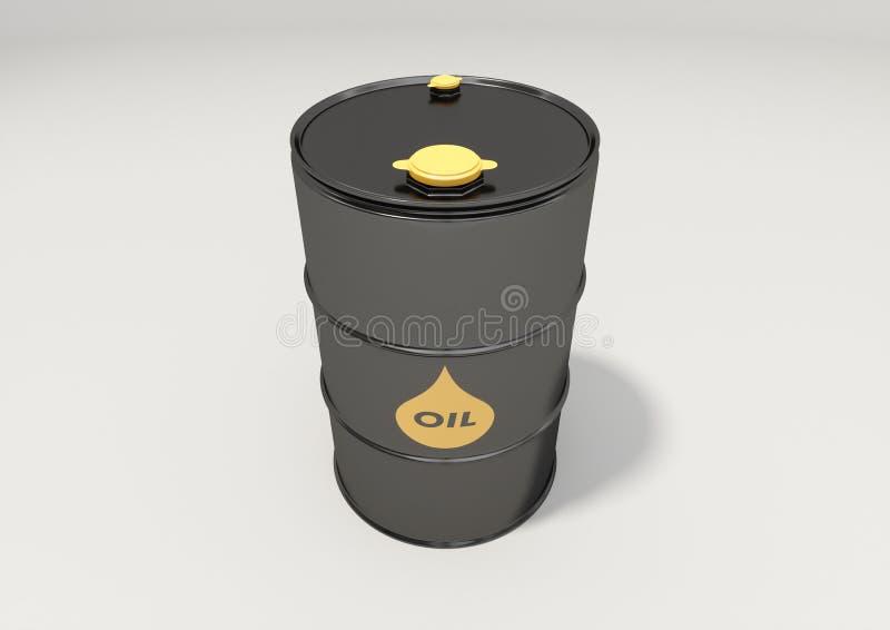 Tonneau à huile noir en métal sur le fond blanc illustration libre de droits
