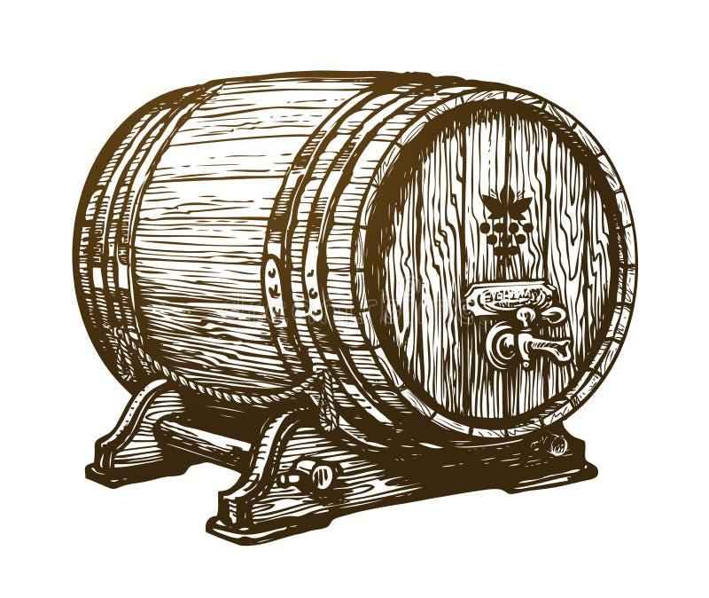 Tonneau de vin en bois tiré par la main Boisson, croquis de baril de chêne Illustration de vecteur de vintage illustration de vecteur