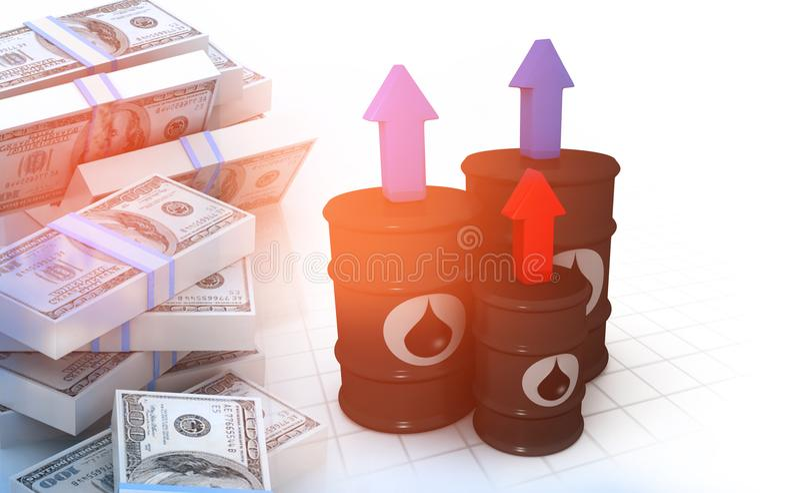 Tonneaux à huile avec la pile de dollars illustration de vecteur
