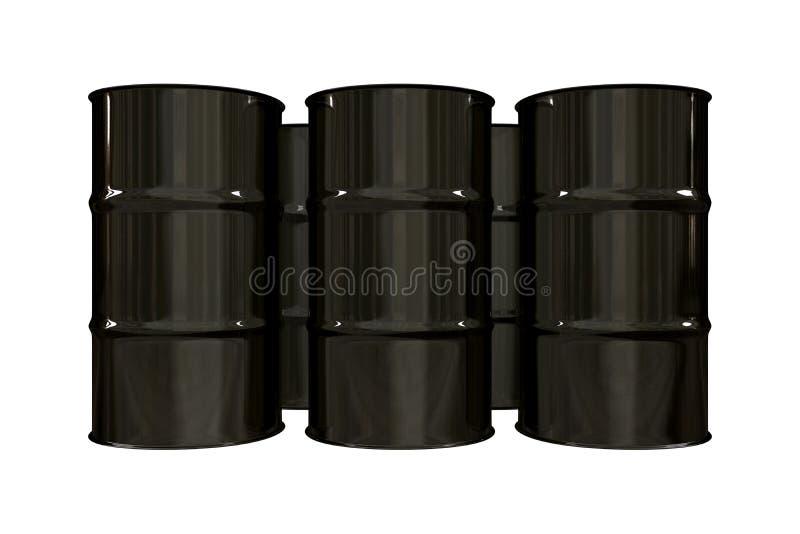 Tonneaux à huile noirs - 3d illustration stock