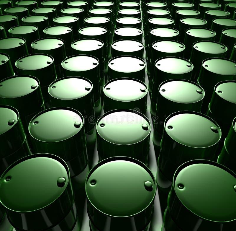 Tonneaux à huile verts illustration stock