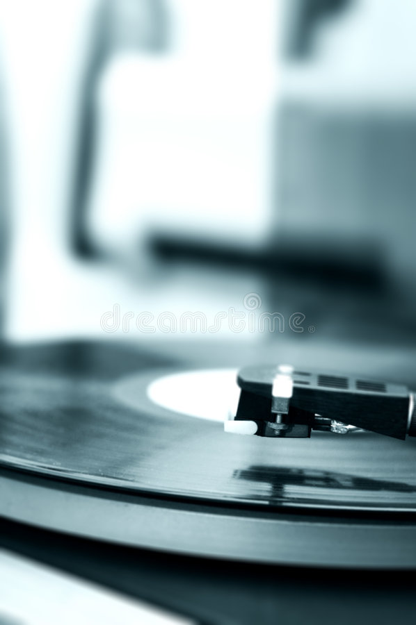 Tono del azul del fonógrafo Turntable-8 foto de archivo libre de regalías