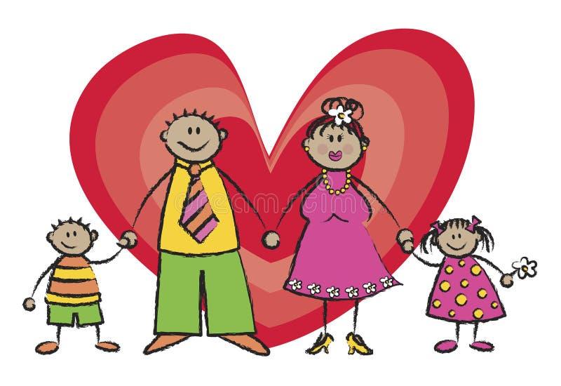 Tono di pelle felice del Tan della famiglia royalty illustrazione gratis