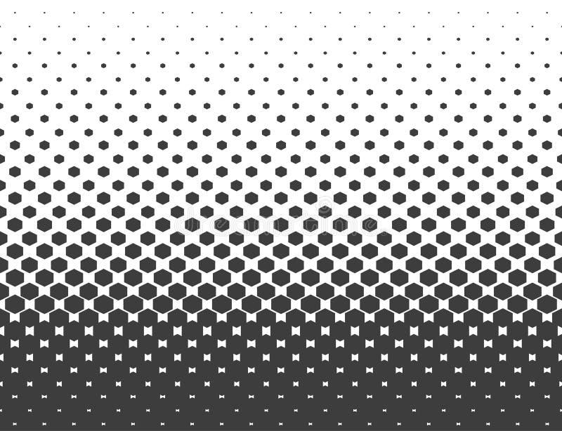 Tono medio abstracto Hexágono negro aislado en el fondo blanco Illustrat hexagonal del vector de semitono ilustración del vector