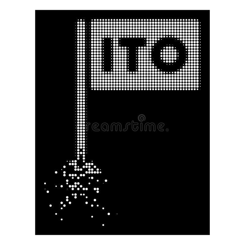Tono medio blanco ITO Rectange Flag Icon de Pixelated de la chispa libre illustration
