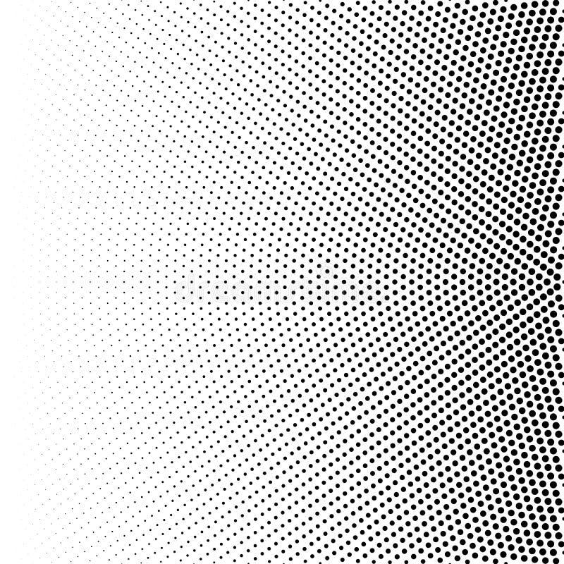 Tono medio de la pendiente radial con los puntos negros Fondo digital de semitono punteado aislado en blanco Modelo del vector ilustración del vector