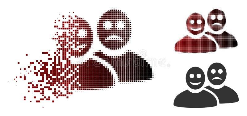 Tono medio destrozado Glad And Sad People Icon de Pixelated ilustración del vector