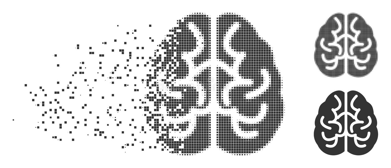 Tono medio Destructed Brain Icon del pixel ilustración del vector