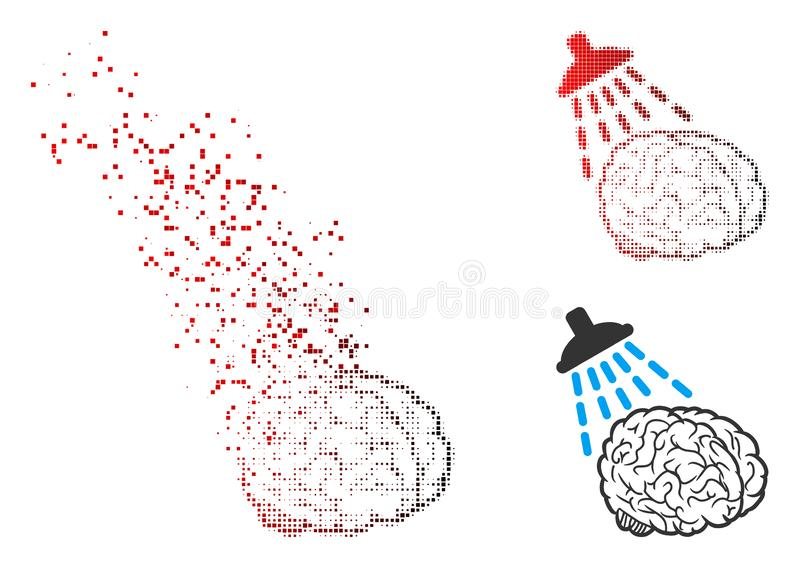 Tono medio Destructed Brain Washing Icon del pixel ilustración del vector