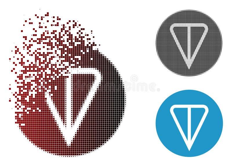 Tono medio Destructed Ton Currency Icon de Pixelated ilustración del vector