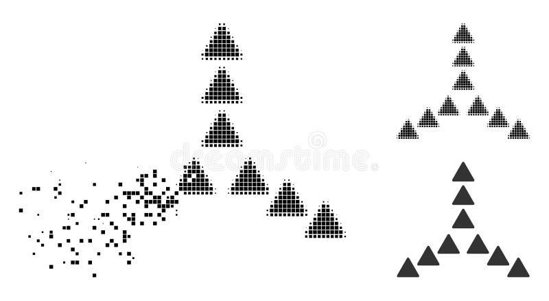 Tono medio fracturado de Pixelated fuera del icono de la dirección ilustración del vector