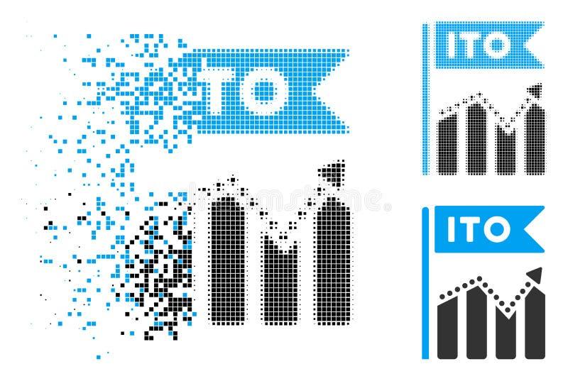 Tono medio quebrado ITO Chart Icon de Pixelated ilustración del vector