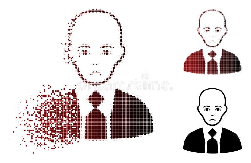 Tono medio tristemente de mudanza Boss calvo Icon del pixel libre illustration
