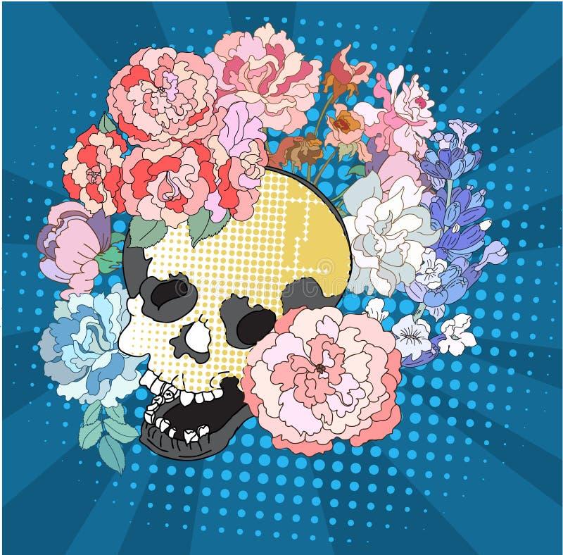 Tono medio y estilo cómicos del arte pop Mujeres en máscara de un león y de una flor, vector dibujado mano stock de ilustración