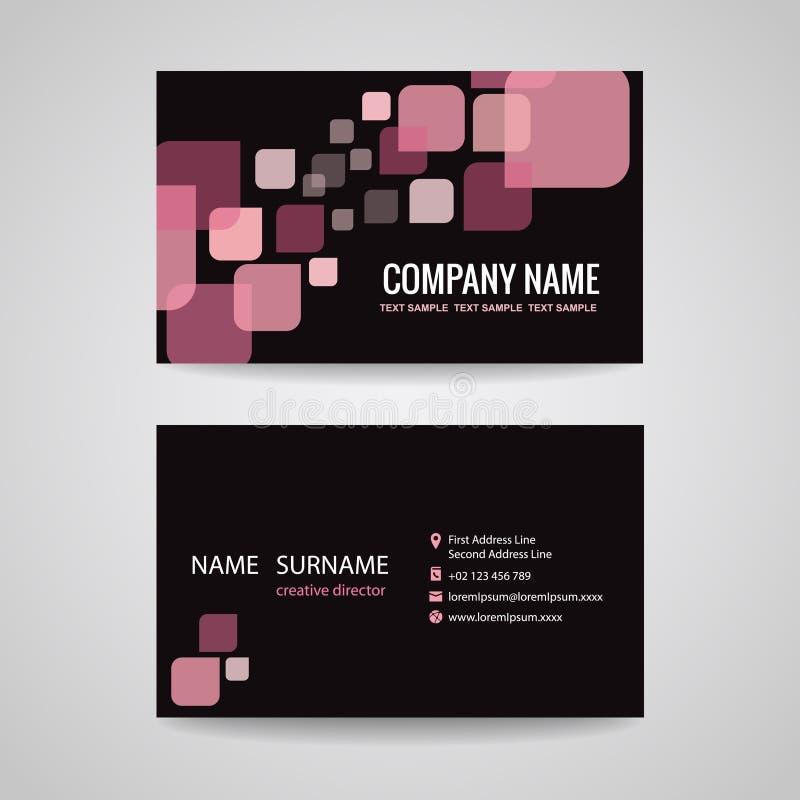 Tono rosa-nero di progettazione del modello del biglietto da visita illustrazione di stock